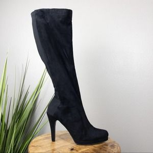 Express Faux Suede and Elastic Tall Boots Black